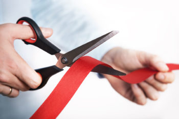 48734527 - red ribbon cutting for open new project